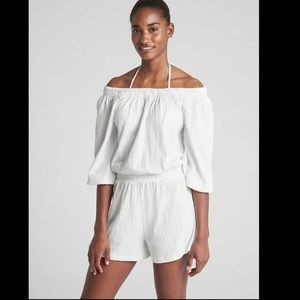 GAP Women's White Off The Shoulder Romper Size S